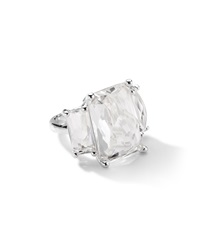 Ippolita Sterling Silver 3 Stone Large Rectangle Cocktail Ring In Clear Quartz
