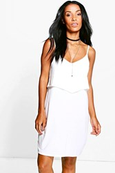 Boohoo Strappy Cami Overlay Skater Dress White