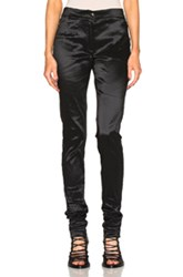 Ann Demeulemeester Metallic Tapered Trousers In Black Metallics Black Metallics