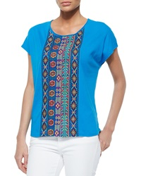 Johnny Was Embroidered Center Panel Tee Women's
