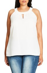 City Chic Plus Size Women's Lace Deluxe Shirt Ivory