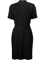 Theory Belted Blouse Dress Black