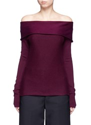 Maiyet Folded Off Shoulder Cashmere Blend Sweater Purple