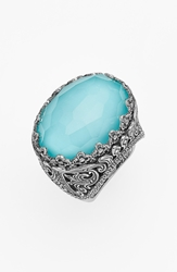 Konstantino 'Aegean' Oval Stone Ring Silver Turquoise