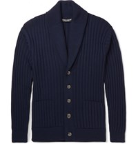 Dolce And Gabbana Shawl Collar Virgin Wool Cardigan Blue