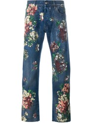 Gucci Floral Painted Jeans Blue