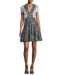 J. Mendel Short Sleeve Floral Fit And Flare Dress Ivory Black Ivoire Noir