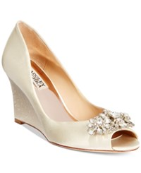 Badgley Mischka Dara Evening Wedges Women's Shoes Ivory Satin