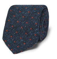 Dunhill 8Cm Polka Dot Wool And Silk Blend Tie Navy