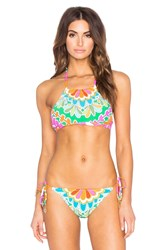 Trina Turk Tamarindo High Neck Bra Top Green