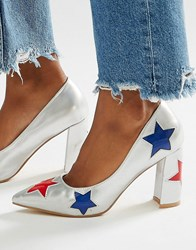 Daisy Street Star Heeled Shoes Silver With Red And Multi