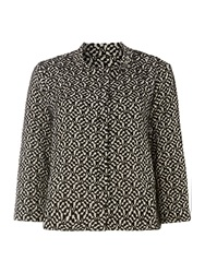 La Fee Maraboutee Beige And Brown Pattern Print Jacket Black