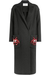 Anya Hindmarch Space Invaders Coat With Virgin Wool Mohair And Alpaca Black