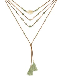 Inc International Concepts Gold Tone Green Bead And Cord Tassel Necklace Only At Macy's