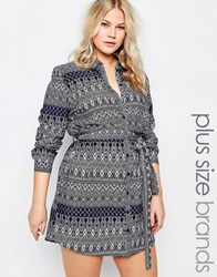 Ax Paris Plus Shirt Dress In Geo Print Blue Mix Black