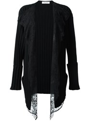 Valentino Lace Panel Cardigan Black