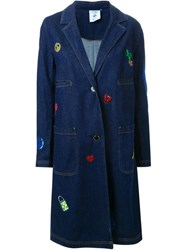 Steve J And Yoni P Embroidered Denim Coat Blue
