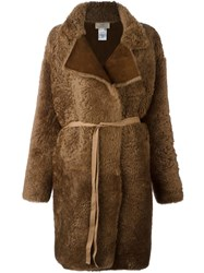 Ports 1961 Oversized Shearling Coat Brown
