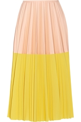 Cedric Charlier Two Tone Pleated Crepe Midi Skirt