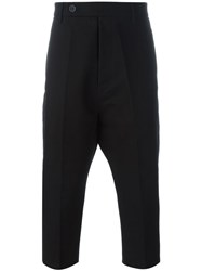 Rick Owens Cropped Dropped Crotch Trousers Black
