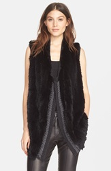 Vince Genuine Rex Rabbit Fur Sweater Back Vest Black