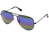 Ray Ban Rb3025 Original Aviator 58Mm Dark Bronze Blue Gold Green Rainbow Mirror Metal Frame Fashion Sunglasses Multi