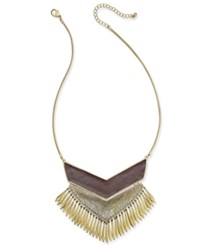 Macy's Gold Tone And Faux Leather Fringe Statement Necklace
