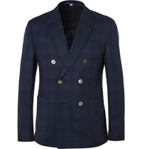 Hardy Amies Navy Slim Fit Double Breasted Wool Blazer