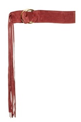 Jj Winters Paige Italian Calf Suede Fringe Belt Red