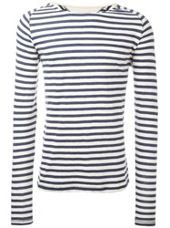 Nudie Jeans Co Striped Boat Neck Relaxed Fit Jumper Blue