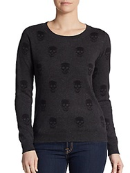 Saks Fifth Avenue Red Skull Roundneck Sweater Grey Storm