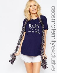 Asos Maternity Baby It's Cold Outside Christmas T Shirt Navy