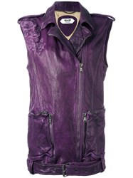 Pihakapi Biker Leather Vest Pink Purple