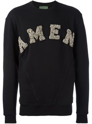 Amen Logo Embellished Sweatshirt Black
