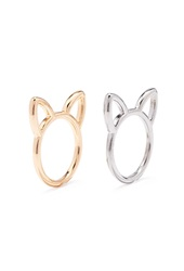 Forever 21 Cat Shaped Cutout Ring Set Gold Silver