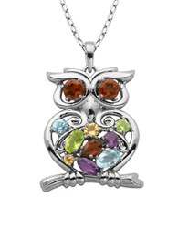 Lord And Taylor Multi Stone Owl Pendant Necklace
