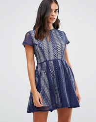 Wal G Lace Dress Navy Blue