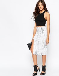 Aka Graphic Print Pencil Skirt White