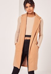 Missguided Sleeveless Tailored Faux Wool Coat Camel