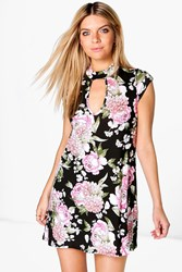 Boohoo Floral High Neck A Line Dress Black