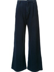 Ag Jeans Wide Flared Trousers Blue