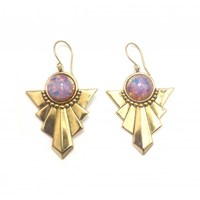 Zt Art Deco With Harlequin Stone Earrings