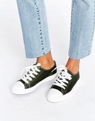 New Look Satin Lace Up Trainer Green