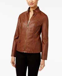 Alfani Faux Leather Jacket Only At Macy's Cognac