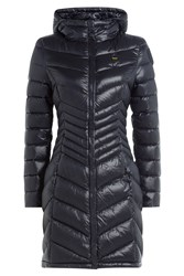 Blauer Wave Quilted Down Coat Blue