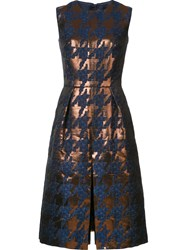 Martin Grant Houndstooth Pattern Dress Brown
