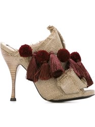 No21 Pompom And Tassel Mules Nude And Neutrals