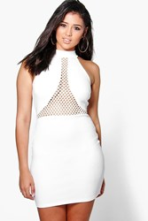 Boohoo Mesh Insert Bodycon Dress Ivory
