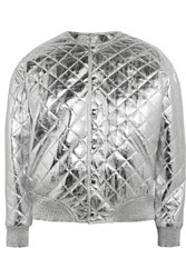 Saint Laurent Quilted Metallic Leather Bomber Jacket Silver