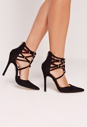 Missguided Gold Trim Court Shoe Black Black